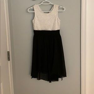 White and black formal dress